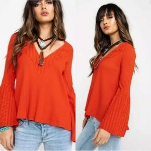 Free People Parisian Nights Orange Blouse M